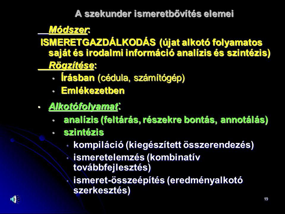 19 A szekunder ismeretbővítés elemei Módszer: ISMERETGAZDÁLKODÁS (újat alkotó folyamatos saját és irodalmi információ analízis és szintézis) ISMERETGAZDÁLKODÁS (újat alkotó folyamatos saját és irodalmi információ analízis és szintézis) Rögzítése: • Írásban (cédula, számítógép) • Emlékezetben • Alkotófolyamat : • analízis (feltárás, részekre bontás, annotálás) • szintézis • kompiláció (kiegészített összerendezés) • ismeretelemzés (kombinatív továbbfejlesztés) • ismeret-összeépítés (eredményalkotó szerkesztés)
