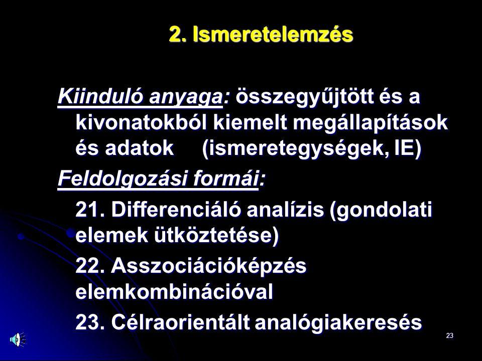 23 2. Ismeretelemzés Kiinduló anyaga: összegyűjtött és a kivonatokból kiemelt megállapítások és adatok (ismeretegységek, IE) Feldolgozási formái: 21.