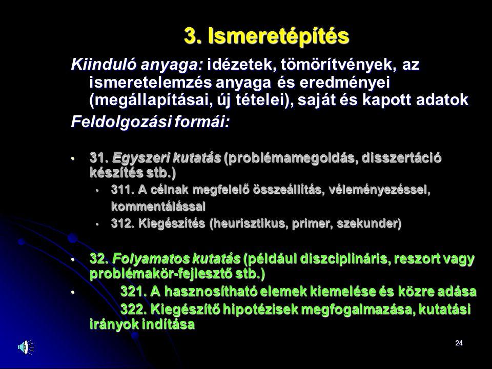 24 3. Ismeretépítés Kiinduló anyaga: idézetek, tömörítvények, az ismeretelemzés anyaga és eredményei (megállapításai, új tételei), saját és kapott ada