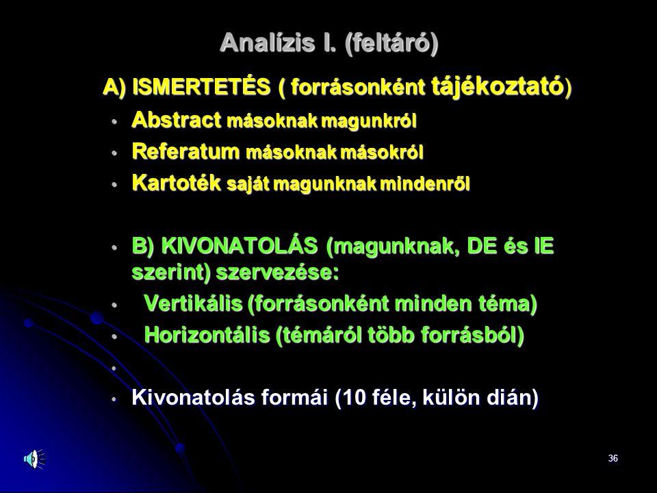 36 Analízis I. (feltáró) A) ISMERTETÉS ( forrásonként tájékoztató ) • Abstract másoknak magunkról • Referatum másoknak másokról • Kartoték saját magun