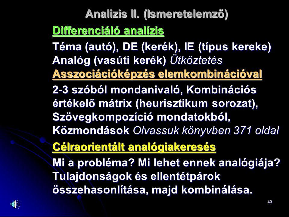 40 Analizis II. (Ismeretelemző) Differenciáló analízis Téma (autó), DE (kerék), IE (típus kereke) Analóg (vasúti kerék) Ütköztetés Asszociációképzés e