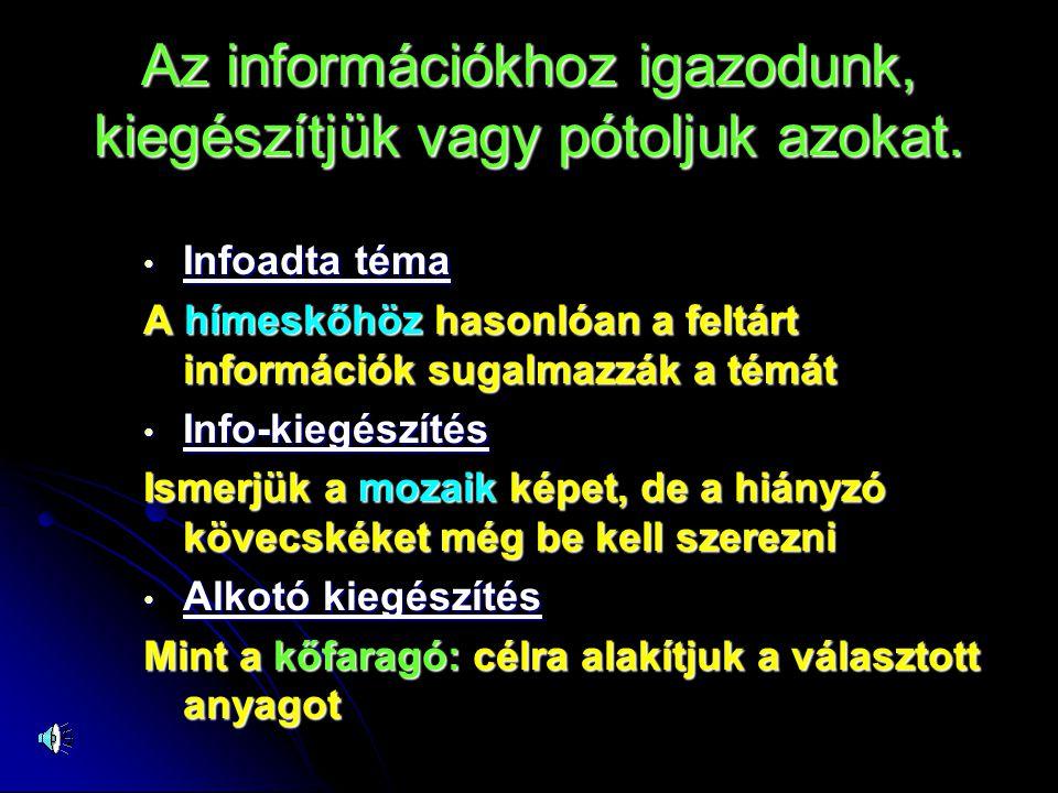 Az információkhoz igazodunk, kiegészítjük vagy pótoljuk azokat. • Infoadta téma A hímeskőhöz hasonlóan a feltárt információk sugalmazzák a témát • Inf
