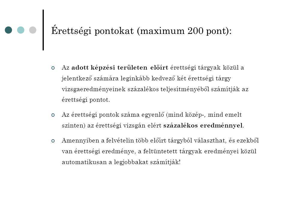 Érettségi pontokat (maximum 200 pont): Az adott képzési területen előírt érettségi tárgyak közül a jelentkező számára leginkább kedvező két érettségi tárgy vizsgaeredményeinek százalékos teljesítményéből számítják az érettségi pontot.