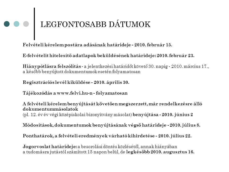 LEGFONTOSABB DÁTUMOK Felvételi kérelem postára adásának határideje - 2010.