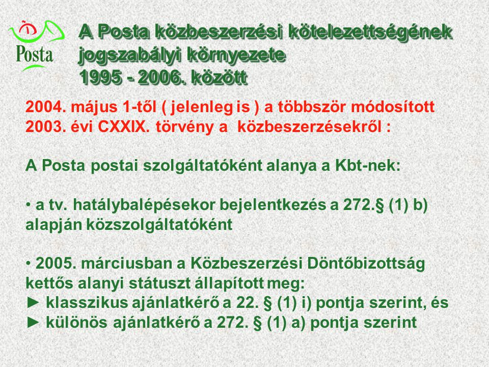 A Posta közbeszerzési kötelezettségének jogszabályi környezete 1995 - 2006. között 2004. május 1-től ( jelenleg is ) a többször módosított 2003. évi C