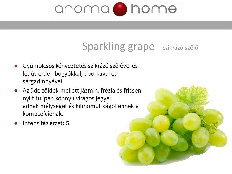 Gyümölcsös kényeztetés szikrázó szőlővel és lédús erdei bogyókkal, uborkával és sárgadinnyével. Az üde zöldek mellett jázmin, frézia és frissen nyílt
