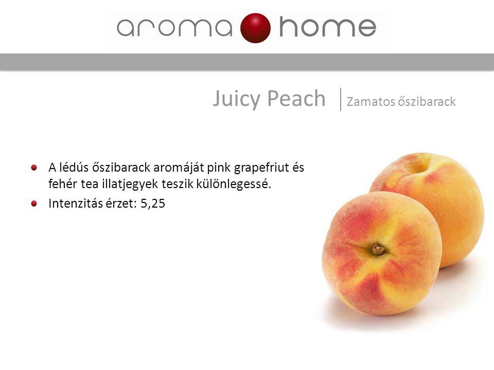 A lédús őszibarack aromáját pink grapefriut és fehér tea illatjegyek teszik különlegessé. Intenzitás érzet: 5,25 Juicy Peach Zamatos őszibarack