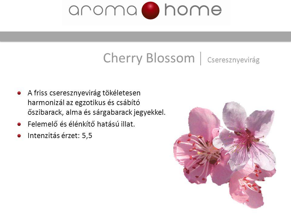 Cherry Blossom Cseresznyevirág A friss cseresznyevirág tökéletesen harmonizál az egzotikus és csábító őszibarack, alma és sárgabarack jegyekkel. Felem