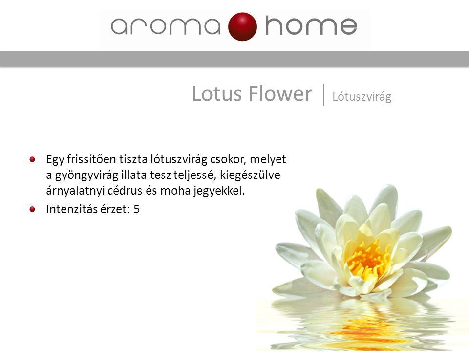 Egy frissítően tiszta lótuszvirág csokor, melyet a gyöngyvirág illata tesz teljessé, kiegészülve árnyalatnyi cédrus és moha jegyekkel. Intenzitás érze