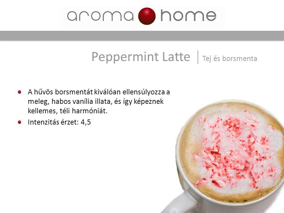 A hűvös borsmentát kiválóan ellensúlyozza a meleg, habos vanília illata, és így képeznek kellemes, téli harmóniát. Intenzitás érzet: 4,5 Peppermint La