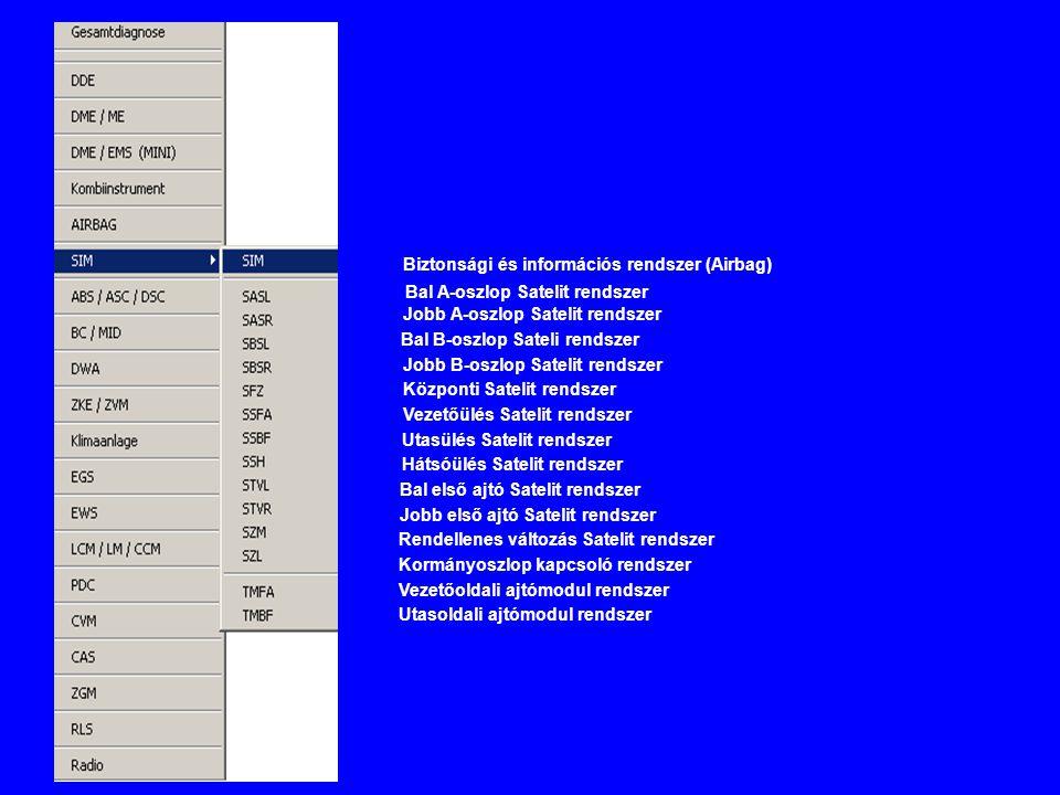 Bal A-oszlop Satelit rendszer Jobb A-oszlop Satelit rendszer Bal B-oszlop Sateli rendszer Jobb B-oszlop Satelit rendszer Központi Satelit rendszer Vezetőülés Satelit rendszer Utasülés Satelit rendszer Hátsóülés Satelit rendszer Bal első ajtó Satelit rendszer Jobb első ajtó Satelit rendszer Rendellenes változás Satelit rendszer Kormányoszlop kapcsoló rendszer Vezetőoldali ajtómodul rendszer Utasoldali ajtómodul rendszer Biztonsági és információs rendszer (Airbag)