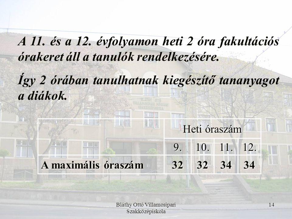 Bláthy Ottó Villamosipari Szakközépiskola 14 A 11. és a 12. évfolyamon heti 2 óra fakultációs órakeret áll a tanulók rendelkezésére. Így 2 órában tanu
