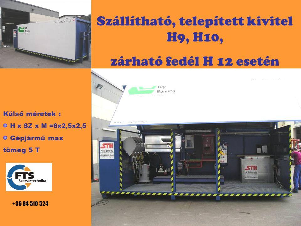 Szállítható, telepített kivitel H9, H10, zárható fedél H 12 esetén Külső méretek : H x SZ x M =6x2,5x2,5 Gépjármű max tömeg 5 T +36 84 510 524