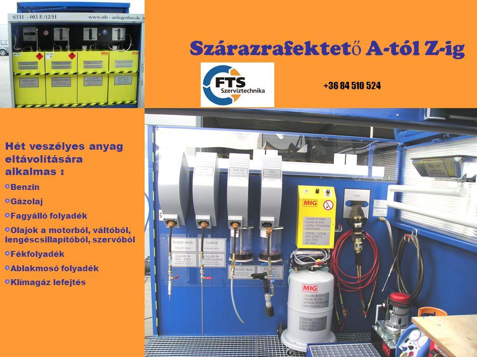 Szárazrafektet ő A-tól Z-ig Hidraulikus olló H-9 opció, H 10 RS 100, H 12 RS 130, könnyen és gyorsan kivágható a katalizátór.