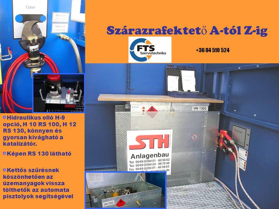 BIZTONSÁG Kármentő, mely 1500 liter felfogására alkalmas Üzemanyag tároló robbanás biztos anyagból, a szűrésnek köszönhetően az üzemanyag újrahasználható Elektromos szint és vészjelzők 120 mm vastag, 5 to terhelhetőség Pneumatikus vezérlés Teljesíti a magyar és európai normákat +36 84 510 524