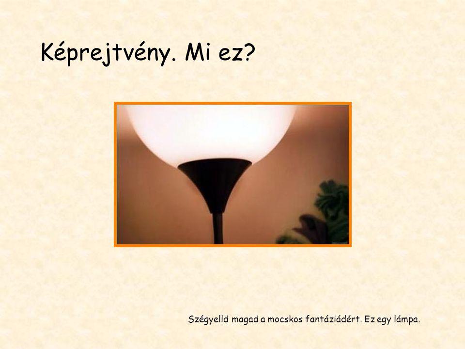 Szégyelld magad a mocskos fantáziádért. Ez egy lámpa. Képrejtvény. Mi ez?