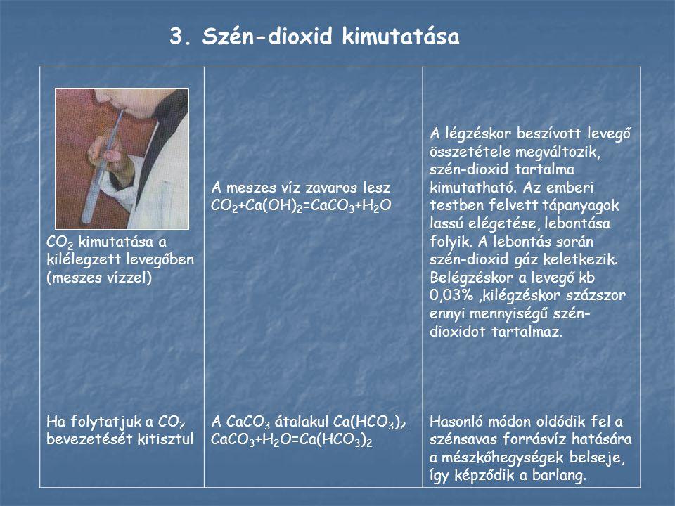 CO 2 kimutatása a kilélegzett levegőben (meszes vízzel) Ha folytatjuk a CO 2 bevezetését kitisztul A meszes víz zavaros lesz CO 2 +Ca(OH) 2 =CaCO 3 +H