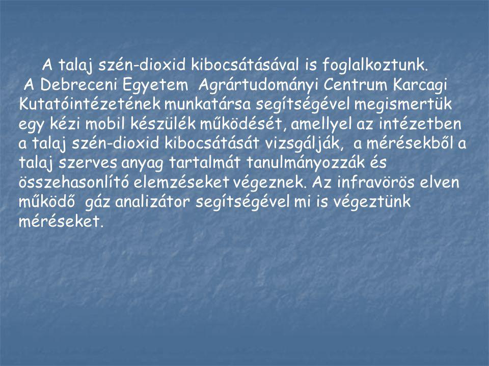 A talaj szén-dioxid kibocsátásával is foglalkoztunk. A Debreceni Egyetem Agrártudományi Centrum Karcagi Kutatóintézetének munkatársa segítségével megi