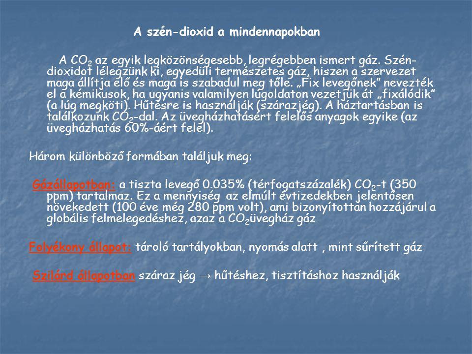A szén-dioxid a mindennapokban A CO 2 az egyik legközönségesebb, legrégebben ismert gáz. Szén- dioxidot lélegzünk ki, egyedüli természetes gáz, hiszen