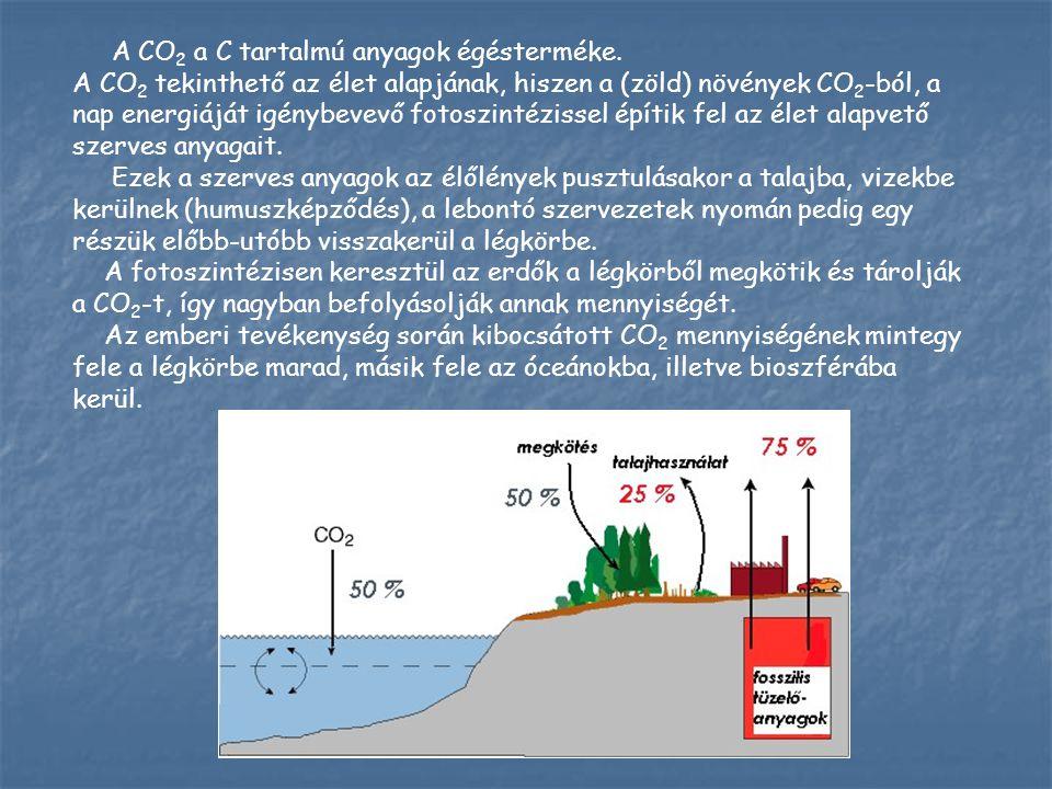 A CO 2 a C tartalmú anyagok égésterméke. A CO 2 tekinthető az élet alapjának, hiszen a (zöld) növények CO 2 -ból, a nap energiáját igénybevevő fotoszi
