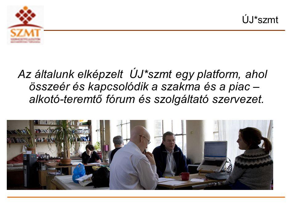 ÚJ*szmt Az általunk elképzelt ÚJ*szmt egy platform, ahol összeér és kapcsolódik a szakma és a piac – alkotó-teremtő fórum és szolgáltató szervezet.