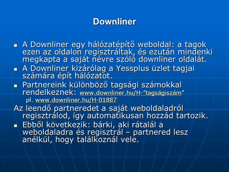 Downliner  A Downliner egy hálózatépítő weboldal: a tagok ezen az oldalon regisztráltak, és ezután mindenki megkapta a saját névre szóló downliner oldalát.