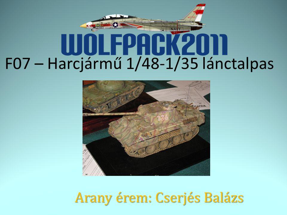 F07 – Harcjármű 1/48-1/35 lánctalpas Arany érem: Cserjés Balázs