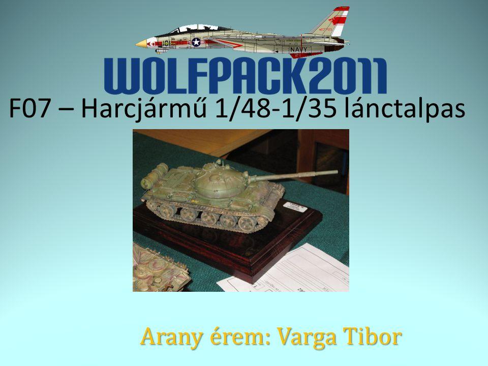 F07 – Harcjármű 1/48-1/35 lánctalpas Arany érem: Varga Tibor