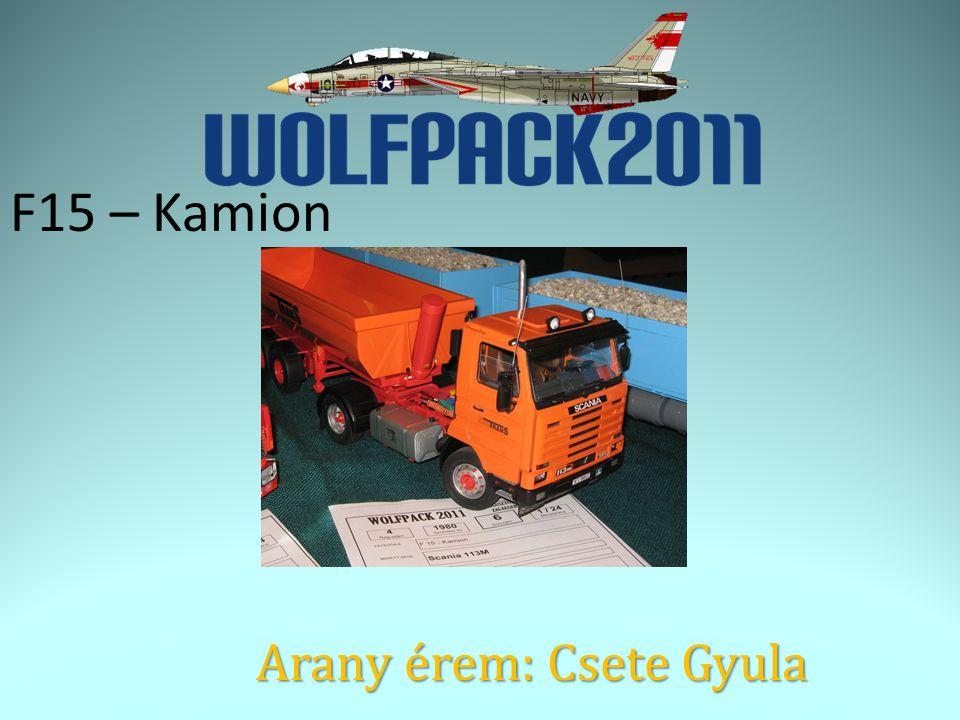 F15 – Kamion Arany érem: Csete Gyula