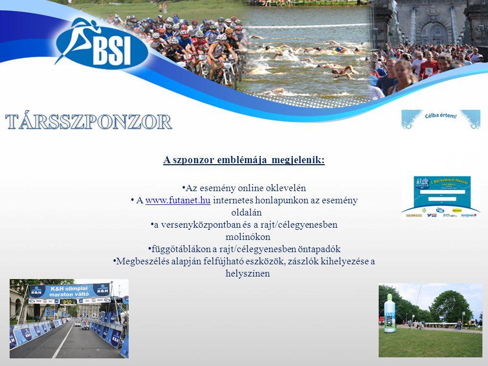 • Az esemény online oklevelén • A www.futanet.hu internetes honlapunkon az eseménywww.futanet.hu oldalán • a versenyközpontban és a rajt/célegyenesben molinókon • függőtáblákon a rajt/célegyenesben öntapadók • Megbeszélés alapján felfújható eszközök, zászlók kihelyezése a helyszínen