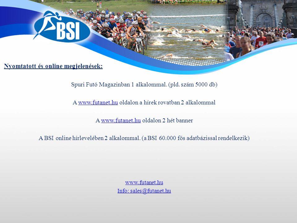 Nyomtatott és online megjelenések: Spuri Futó Magazinban 1 alkalommal.