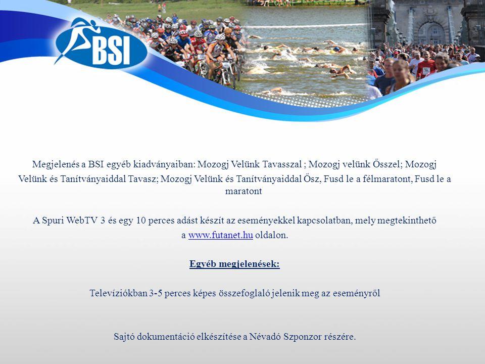 Megjelenés a BSI egyéb kiadványaiban: Mozogj Velünk Tavasszal ; Mozogj velünk Ősszel; Mozogj Velünk és Tanítványaiddal Tavasz; Mozogj Velünk és Tanítványaiddal Ősz, Fusd le a félmaratont, Fusd le a maratont A Spuri WebTV 3 és egy 10 perces adást készít az eseményekkel kapcsolatban, mely megtekinthető a www.futanet.hu oldalon.www.futanet.hu Egyéb megjelenések: Televíziókban 3-5 perces képes összefoglaló jelenik meg az eseményről Sajtó dokumentáció elkészítése a Névadó Szponzor részére.