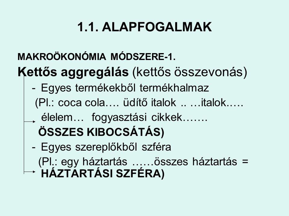1.1. ALAPFOGALMAK MAKROÖKONÓMIA MÓDSZERE-1. Kettős aggregálás (kettős összevonás) -Egyes termékekből termékhalmaz (Pl.: coca cola…. üdítő italok.. …it