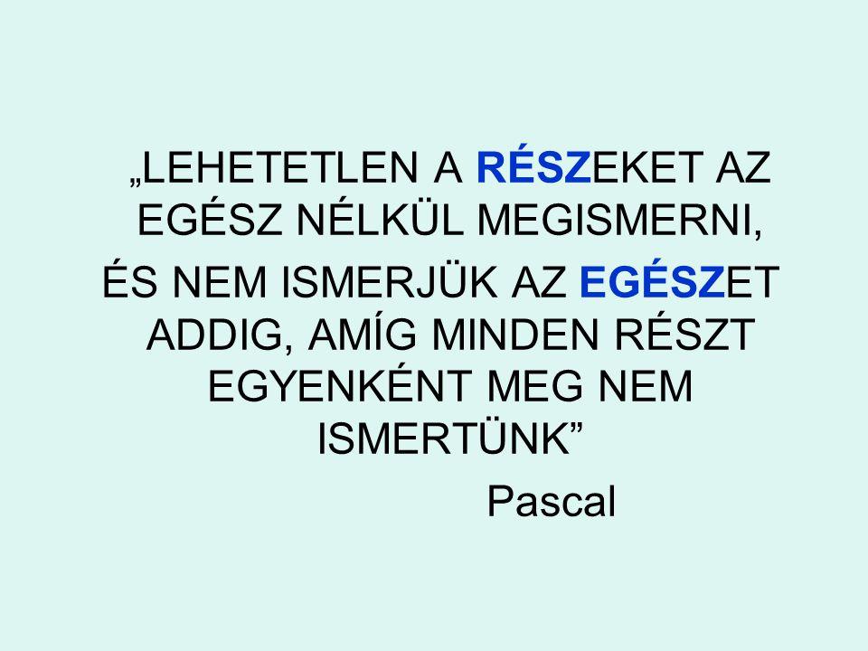""""""" LEHETETLEN A RÉSZEKET AZ EGÉSZ NÉLKÜL MEGISMERNI, ÉS NEM ISMERJÜK AZ EGÉSZET ADDIG, AMÍG MINDEN RÉSZT EGYENKÉNT MEG NEM ISMERTÜNK"""" Pascal"""