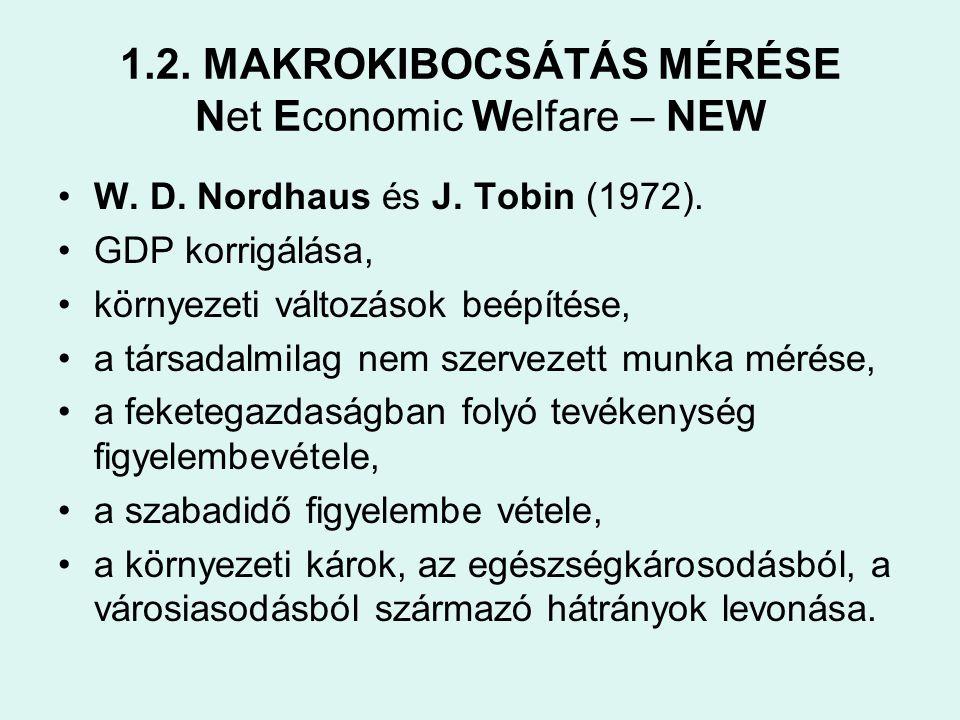 1.2. MAKROKIBOCSÁTÁS MÉRÉSE Net Economic Welfare – NEW •W. D. Nordhaus és J. Tobin (1972). •GDP korrigálása, •környezeti változások beépítése, •a társ