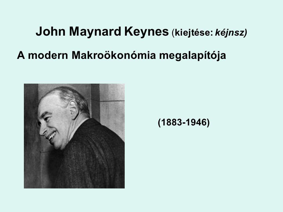 John Maynard Keynes (kiejtése: kéjnsz) A modern Makroökonómia megalapítója (1883-1946)