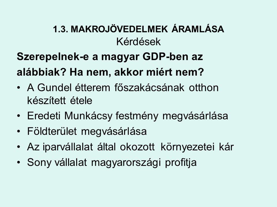 1.3. MAKROJÖVEDELMEK ÁRAMLÁSA Kérdések Szerepelnek-e a magyar GDP-ben az alábbiak? Ha nem, akkor miért nem? •A Gundel étterem főszakácsának otthon kés