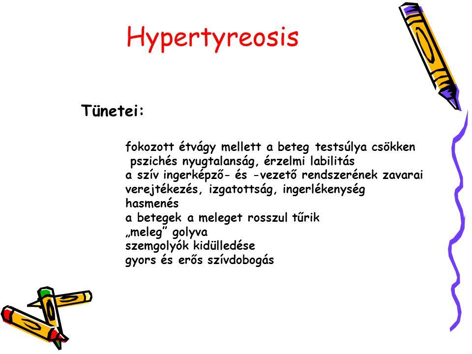"""Hypertyreosis Tünetei: fokozott étvágy mellett a beteg testsúlya csökken pszichés nyugtalanság, érzelmi labilitás a szív ingerképző- és -vezető rendszerének zavarai verejtékezés, izgatottság, ingerlékenység hasmenés a betegek a meleget rosszul tűrik """"meleg golyva szemgolyók kidülledése gyors és erős szívdobogás"""