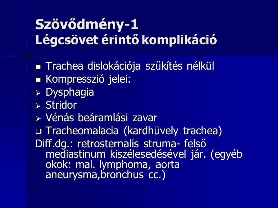 Szövődmény-1 Légcsövet érintő komplikáció  Trachea dislokációja szűkítés nélkül  Kompresszió jelei:  Dysphagia  Stridor  Vénás beáramlási zavar 