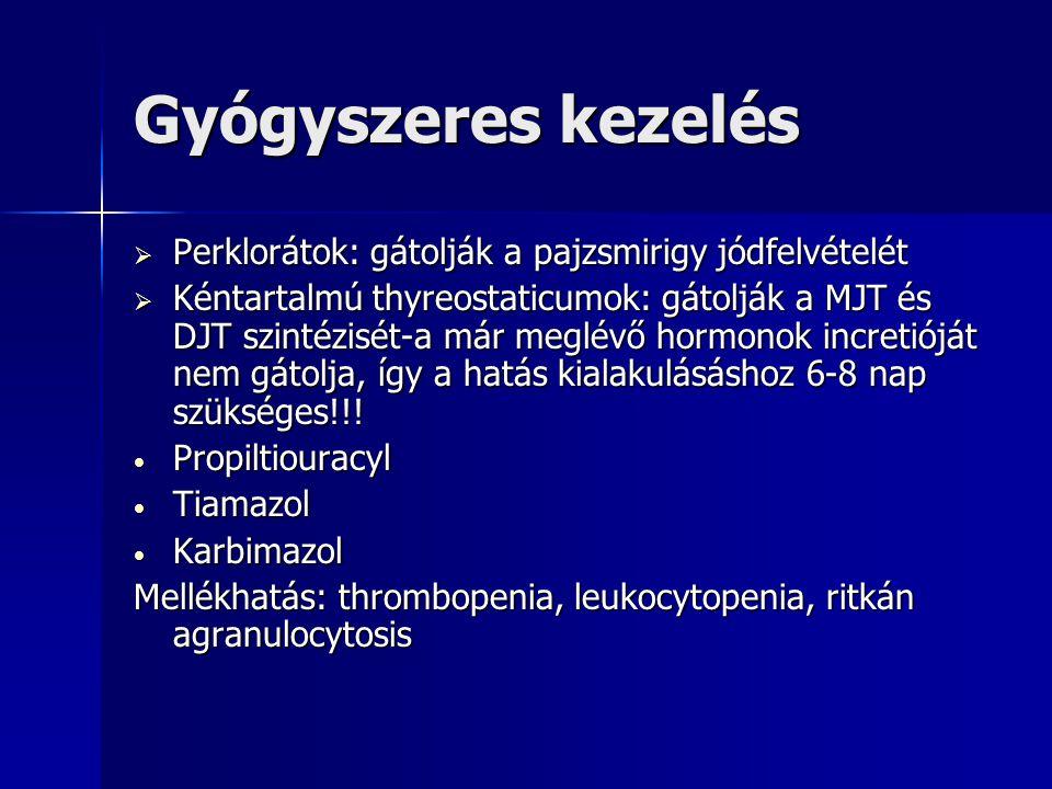 Gyógyszeres kezelés  Perklorátok: gátolják a pajzsmirigy jódfelvételét  Kéntartalmú thyreostaticumok: gátolják a MJT és DJT szintézisét-a már meglév