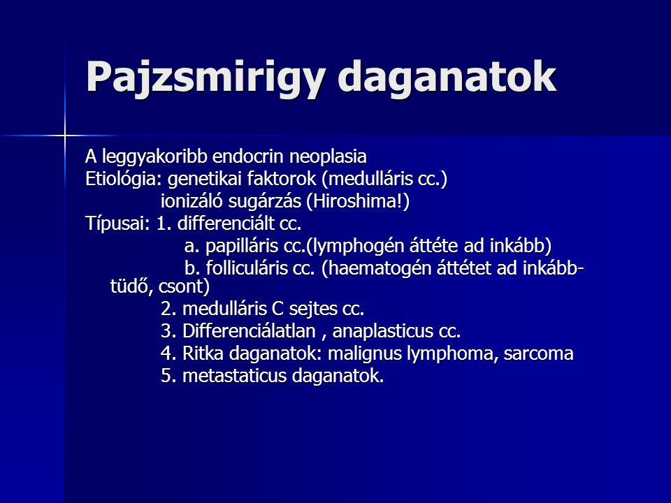 Pajzsmirigy daganatok A leggyakoribb endocrin neoplasia Etiológia: genetikai faktorok (medulláris cc.) ionizáló sugárzás (Hiroshima!) ionizáló sugárzá