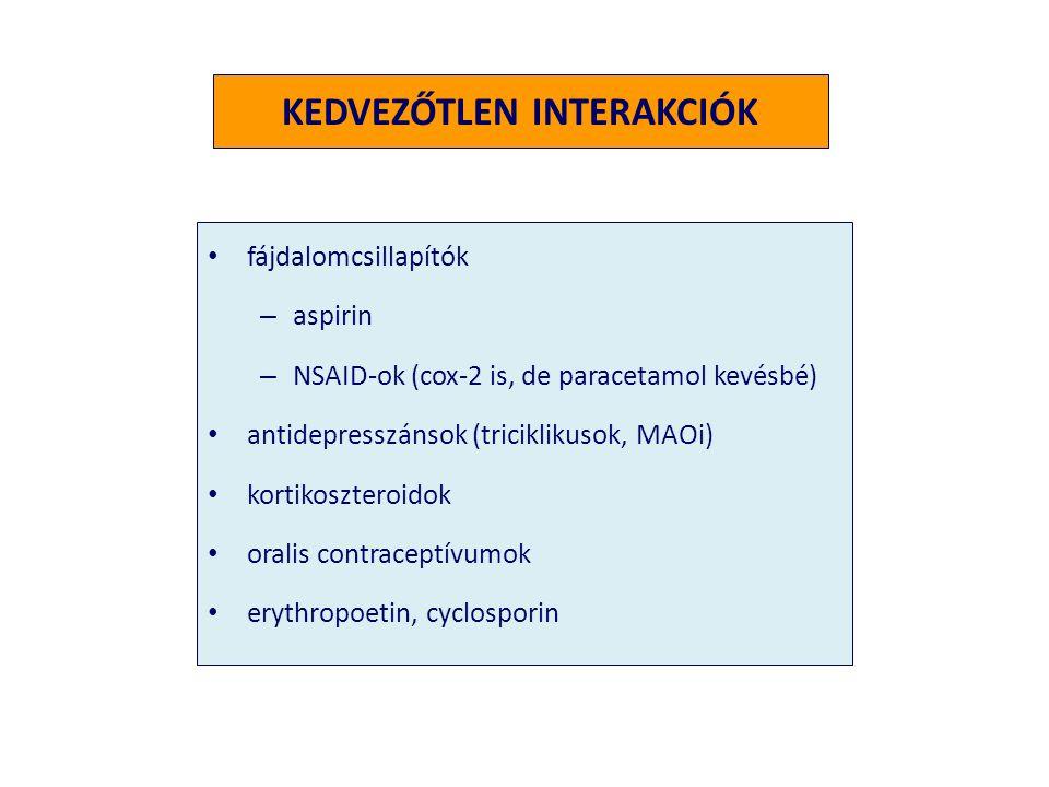 KEDVEZŐTLEN INTERAKCIÓK • fájdalomcsillapítók – aspirin – NSAID-ok (cox-2 is, de paracetamol kevésbé) • antidepresszánsok (triciklikusok, MAOi) • kort