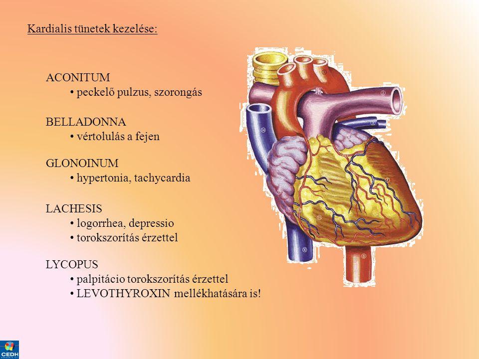 Kardialis tünetek kezelése: ACONITUM • peckelő pulzus, szorongás BELLADONNA • vértolulás a fejen GLONOINUM • hypertonia, tachycardia LACHESIS • logorr