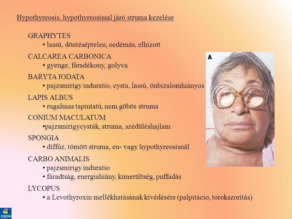 Hypothyreosis, hypothyreosissal járó struma kezelése GRAPHYTES • lassú, döntéséptelen, oedémás, elhízott CALCAREA CARBONICA • gyenge, fáradékony, goly