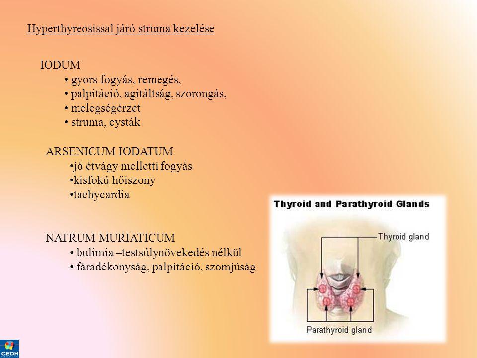 Hyperthyreosissal járó struma kezelése IODUM • gyors fogyás, remegés, • palpitáció, agitáltság, szorongás, • melegségérzet • struma, cysták ARSENICUM