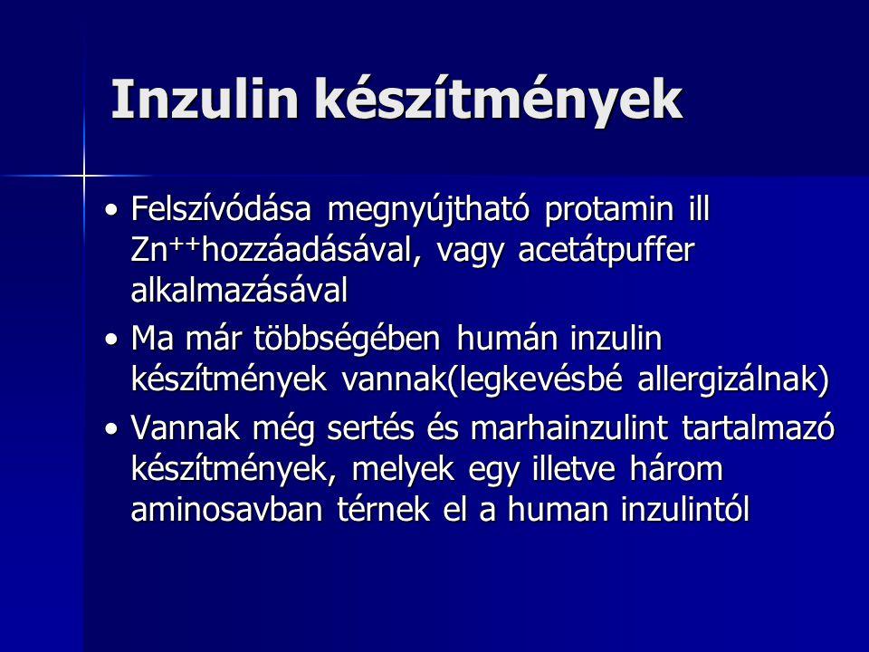 Inzulin készítmények •Felszívódása megnyújtható protamin ill Zn ++ hozzáadásával, vagy acetátpuffer alkalmazásával •Ma már többségében humán inzulin készítmények vannak(legkevésbé allergizálnak) •Vannak még sertés és marhainzulint tartalmazó készítmények, melyek egy illetve három aminosavban térnek el a human inzulintól