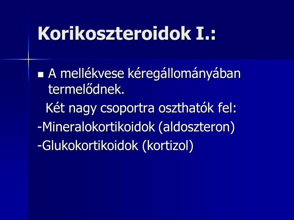 Korikoszteroidok I.:  A mellékvese kéregállományában termelődnek.