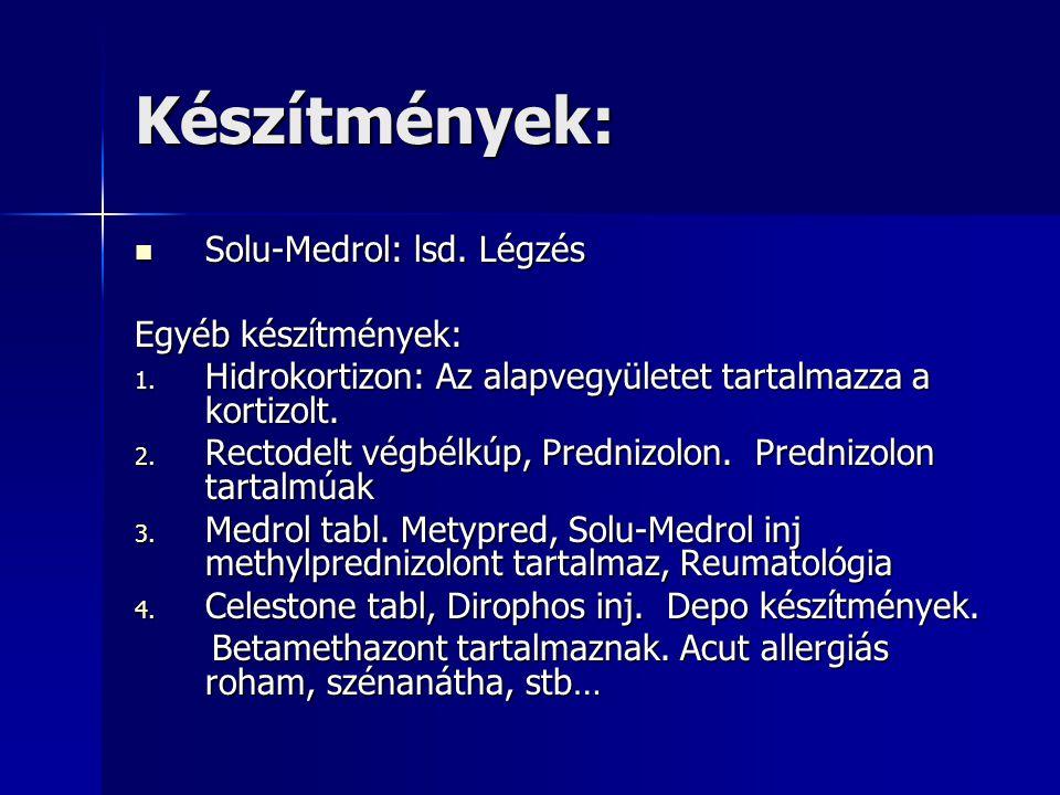 Készítmények:  Solu-Medrol: lsd.Légzés Egyéb készítmények: 1.