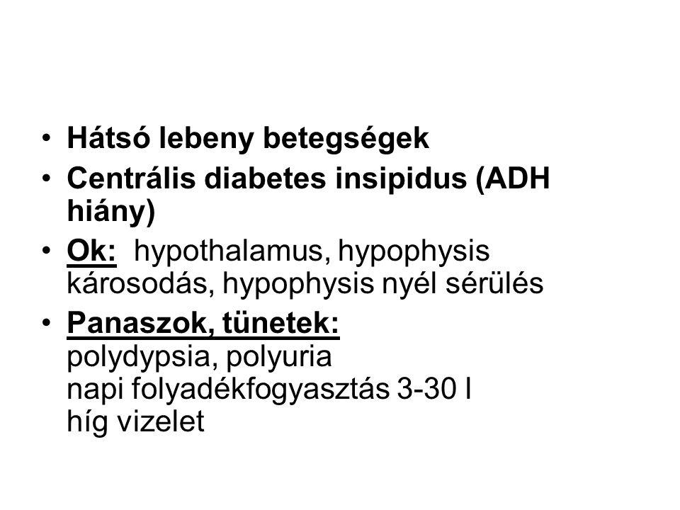 •Hátsó lebeny betegségek •Centrális diabetes insipidus (ADH hiány) •Ok: hypothalamus, hypophysis károsodás, hypophysis nyél sérülés •Panaszok, tünetek: polydypsia, polyuria napi folyadékfogyasztás 3-30 l híg vizelet