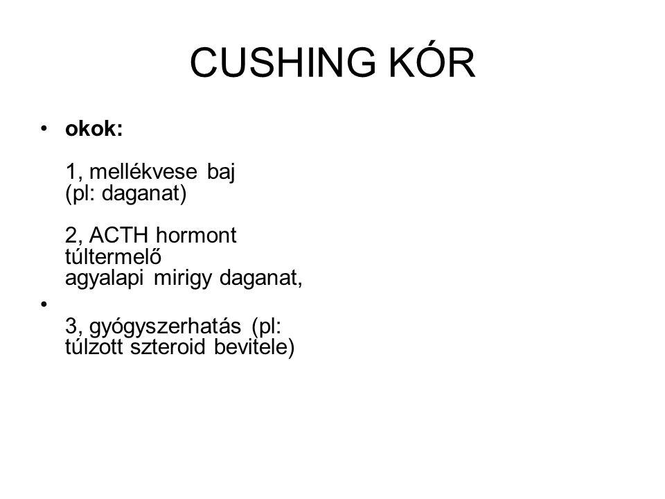 CUSHING KÓR •okok: 1, mellékvese baj (pl: daganat) 2, ACTH hormont túltermelő agyalapi mirigy daganat, • 3, gyógyszerhatás (pl: túlzott szteroid bevit